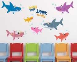 Baby Shark Family Wall Decals 1493 Innovativestencils