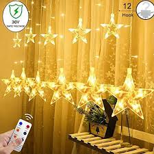 Yinuo Light 12 Stars Curtain String Lights With Remote And Hanging Hoo
