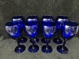 wine glasses set of 8 cobalt long stem