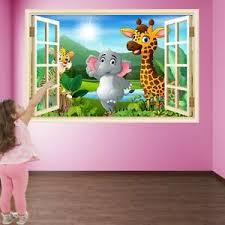 Cartoon Animals Jungle Wall Art Stickers Mural Decal Print Kids Room Decor He1 Ebay