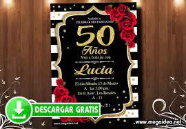 Invitacion 50 Anos Mujer Para Editar Gratis Mega Idea
