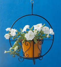 metallic hanging basket with yellow pot