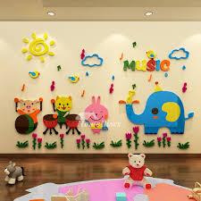 Vinyl Wall Stickers For Kids Home Decor Nursery School Classroom Cartoon Acrylic Elephant Animal Music Colorful