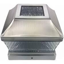 Silver Metal Plated Solar Post Cap Led Light 5x5 Post Deck Fence Lighting 5 Inch Amazon Com