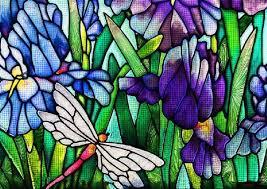 irises stained glass 145 cross stitch
