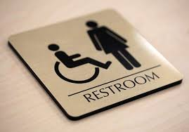 premium restroom signs brushed metal