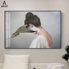 جميلة حزينة امرأة فتاة الحديثة الملصقات والمطبوعات جدار الفن