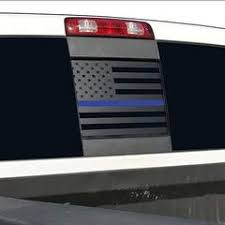 Dodge Ram Back Middle Window Thin Blue Line American Flag Decal 2009 Elevated Auto Styling