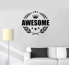 Vinyl Wall Decal Awesome Crown Word Lettering Man Cave Room Art Sticke Wallstickers4you
