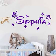 Personalized Girls Name Vinyl Wall Sticker Home Decor Kids Room Butterflies Decals Custom Name Nursery Bedroom Decoration 3n12 Wall Stickers Aliexpress