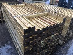 2 4m Round Top Wooden Slotted H Posts Green Oakdale Fencing