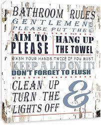 Amazon Com Bathroom Rules Bathroom Sign Framed Canvas Print Home Decor Wall Art Gallery Wrap Inner Frame White 7x9 Posters Prints