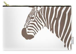 Minimal Zebra Print Scandinavian Nursery Decor Animal Friends For Kids Room Brown Carry All Pouch For Sale By Studio Grafiikka
