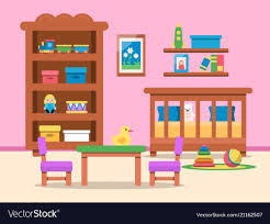 Picture Of Kids Room Interior Bed Table Royalty Free Vector