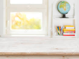 Wooden Table With Blurred Background Of Kids Room And Window Stock Photo Picture And Royalty Free Image Image 93211483