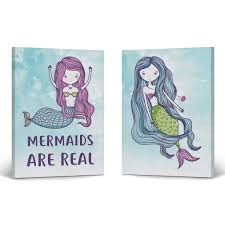Smile Art Design Mermaids Are Real Watercolor Paint Mermaid Decor 2 Piece Set Canvas Wall Art Print Kids Room Decor Baby Room Decor Nursery Decor Ready To Hang Made In The Usa 17x11 X2
