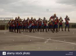 The Mongolian Armed Forces Ceremonial Band marches during the ...