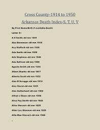 Cross County-1914 to 1950 Arkansas Death Index-S, T, U, V