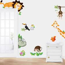 Ishowtienda Jungle Animals Wall Stickers For Kids Rooms Safari Nursery Rooms Baby Home Decor Poster Monkey Cartoon Wall Decals Wall Stickers Aliexpress