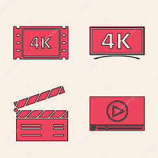 ✅ Set Online play video , 4k movie, tape, frame , Screen tv with 4k Ultra  HD video technology and Movie clapper icon. Vector premium vector in Adobe  Illustrator ai ( .ai )