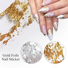 Gold Sliver Nail Foils Gold Foil Gauze Nail Art Transfer Sticker Decoration Slide Nail Art Decal Nails Art Diy Accessories Stickers Decals Aliexpress