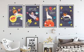 Amazon Com Baby Wall Art Nursery Decor 11by 17inches Space Posters For Boys Room Little Astronaut Children Wall Art Kids Room Decor Moon Stars Baby Room Decor Posters Prints