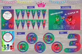 Kit Impreso Pijamas Invitaciones Banderin Cartel Stickers 650