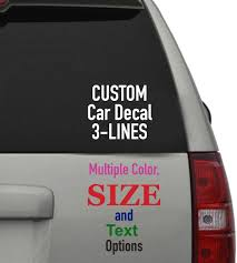 Amazon Com Custom Car Decal 3 Text Lines Multiple Color Options Vinyl Decal Sticker For Windows Cars Trucks Laptops Drinkware Almost Any Hard Surface White 12 Width Kitchen Dining