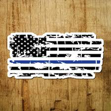 Thin Blue Line Of Courage Tattered Flag Decal Inshane Designs