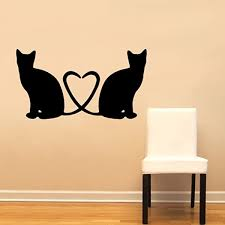 Amazon Com Cats Heart Love Wall Decal Sticker Home Decoration Decor Silhouette Tail Shape Heart Cat Home Kitchen