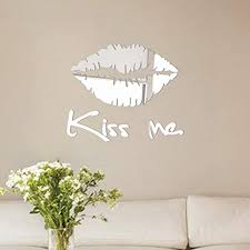 Amazon Com Iuhan Removable Passion Kiss Me Mirror Lip Wall Sticker Decal Art Mural Home Room Decor Silver Home Kitchen