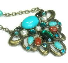 retro boho necklace turquoise and