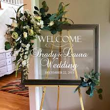 Simple Wedding Decor Decals Rustic Wedding Welcome Vinyl Decal Mural Waterproof Custom Names Stickers Personalized G210 Wall Stickers Aliexpress