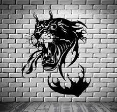 Wall Vinyl Art Sticker Panther In Flames Jungle Hunter Animal Decor Unique Gift M366 Animal Decor Vinyl Art Stickers Art