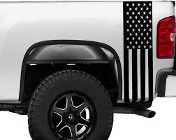 Amazon Com American Flag Truck Bed Stripes Decals Stickers Patrioctic Compatible All Pick Up Trucks Pickup 1500 2500 Graphics Accessories Vinyl Racing Custom Set Body Rear Side Cut Out Matte Black Sports