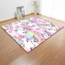 Cartoon Pink Unicorn Carpets Anti Slip Flannel Carpets Kids Play Mat Girls Room Decorative Area Rug Living Room Rug And Carpet Carpet Aliexpress