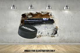 3d Ice Hockey Wall Smash Childrens Wall Stickers Bedroom Wall Art 4 Sizes Ebay