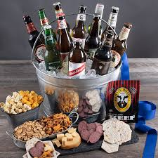 alcohol gift basket with beer by