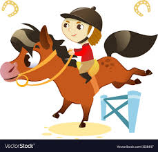 Child With Small Horse Jumping A Hurdle Royalty Free Vector