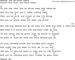 Country Music:Before You Go-Buck Owens Lyrics and Chords
