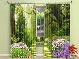 Amazon Com Lb Teen Kids Forest Decor 3d Window Curtains For Living Room Bedroom Flowers Bloom In The Virgin Forest Room Darkening Blackout Window Drapes 2 Panels 59 Inch Width By 108 In Long
