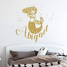 Amazon Com Mermaid Decals Girl Name Wall Decal Nautical Wall Decor Personalized Baby Bedroom Vinyl Sticker Girl Nursery Wall Decor Baby Name Wall Art Mermaid Wall Decals Nursery Decals Kids Sticker Se89 Handmade