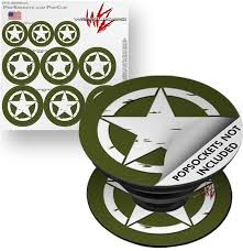 Decal Style Vinyl Skin Wrap 3 Pack For Popsockets Distressed Army Star