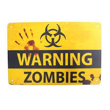 Metal Warning Zombies Biohazard Door Sign Tin Garage Man Cave Kids Room Wall Decor Walmart Com Walmart Com