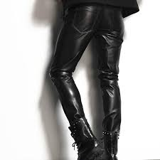 italy mens genuine leather skinny pants