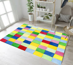 Colored Squares Bedroom Mat Kids Play Carpet Living Room Floor Decor Area Rugs Ebay