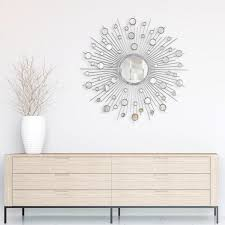 Empire Art Direct Medium Sunburst Silver Hooks Modern Mirror 36 In H X 36 In W Pmm Mj3575 36r The Home Depot