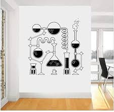 Amazon Com Qinheny Science Beakers Wall Art Stickers For Bedroom Removable Funny Education Decals Scientist Chemistry Vinyl Decal Wallpaper 56x57 Cm Home Kitchen
