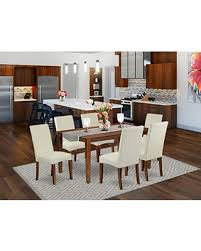 Check Out These Bargains On East West Furniture Cadr7 Mah 01 Dining Room Table Set 7 Pc Cream Linen Fabric Kitchen Parson Chairs Mahogany Finish 4 Legs Solid Wood Rectangular Small Table And Frame