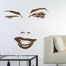 Wall S Matter Lady Eyes Big Eyes Lashes Wink Red Lip Decor Wall Art Mural Vinyl Decal Sticker